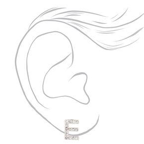 Silver Crystal Initial Stud Earrings - E,