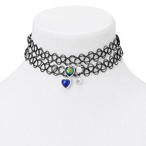 Best Friends Heart Pendant Tattoo Choker Necklaces - 2 Pack,
