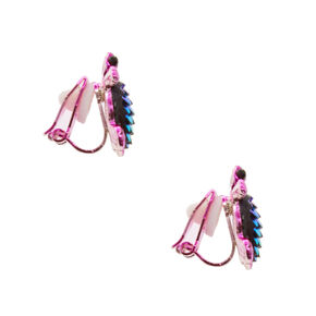 Holographic Scale Turtle Clip On Stud Earrings,