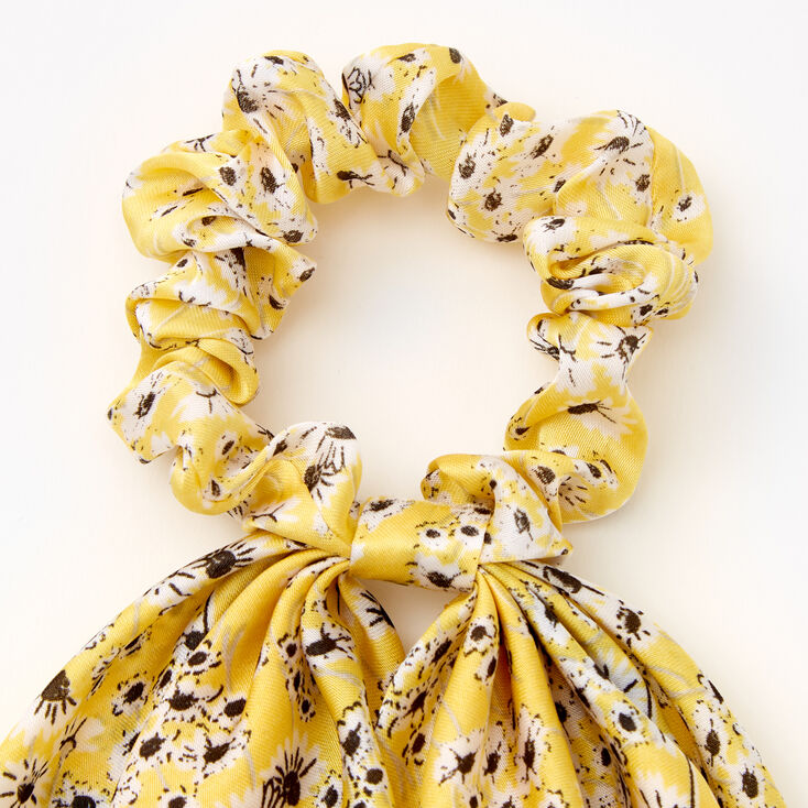Small Ditsy Floral Hair Scrunchie Scarf - Yellow,