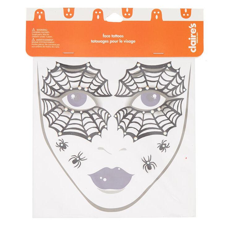 Spider Face Tattoos - Black, 8 Pack,