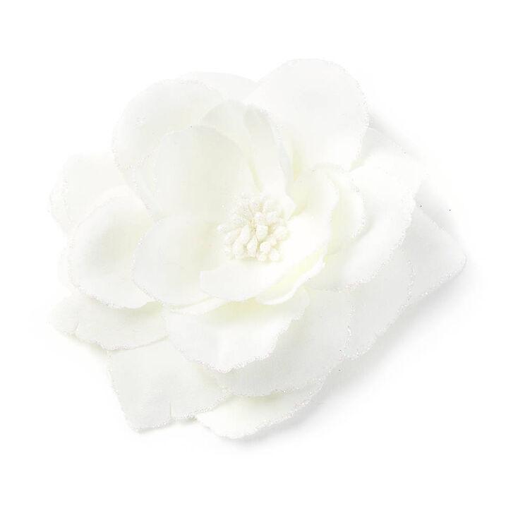 Glitter Edge Flower Hair Clip White Claire S Us
