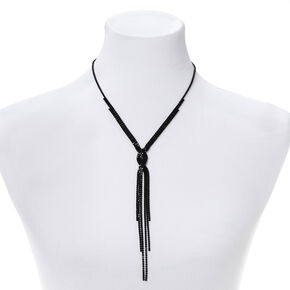 Rhinestone Braided Statement Necklace - Black,