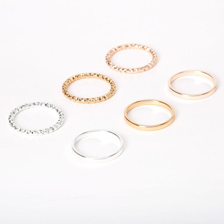 Mixed Metal Sleek Textured Rings - 6 Pack,