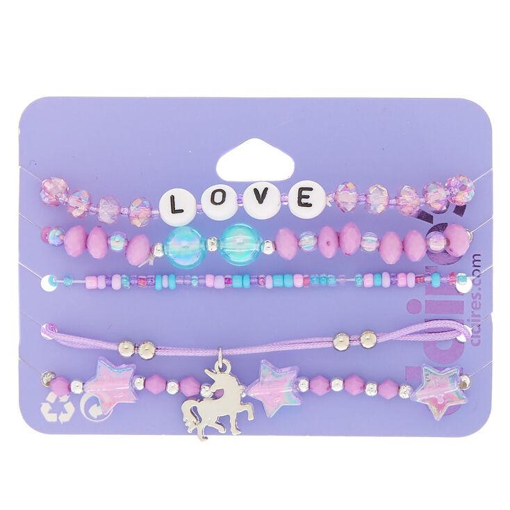 Unicorn Love Stretch Bracelets - Purple, 5 Pack,