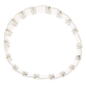 Brushed Silver Pebble Stretch Bracelet,