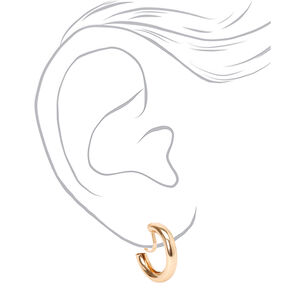 Gold 20MM Tube Clip On Hoop Earrings,