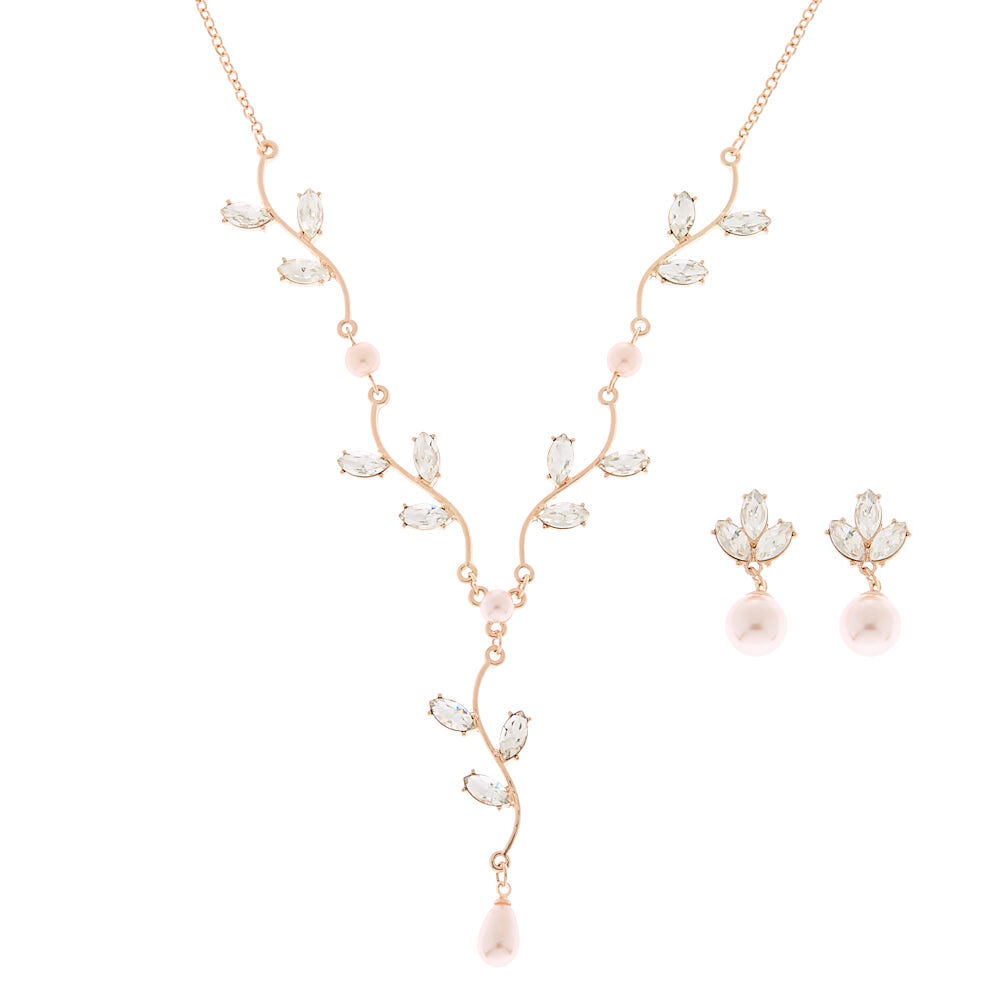 Claires Girls 2 Rose Gold Rhinestone Vine Drop Earrings