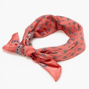 Bandeau bandana soyeux imprimé floral et cachemire - Rose tendre,