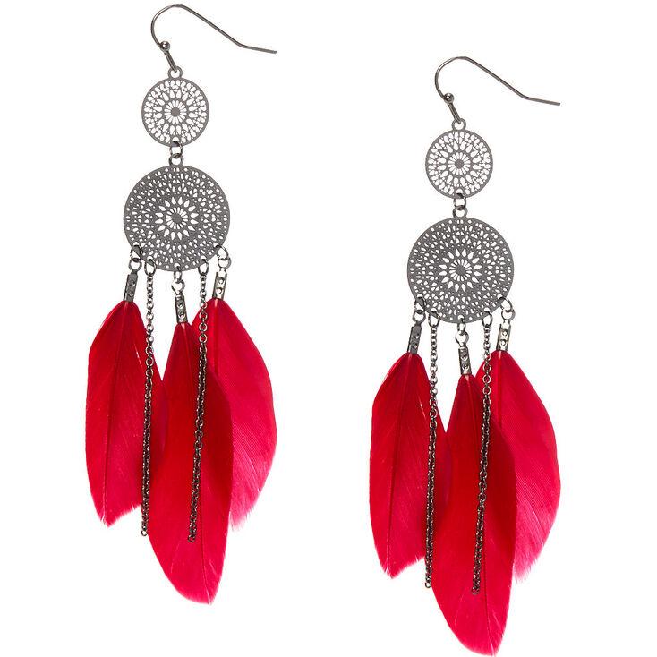 """Hematite 3.5"""" Filigree Feather Drop Earrings,"""