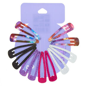Glitter Space Snap Hair Clips - Purple, 12 Pack,