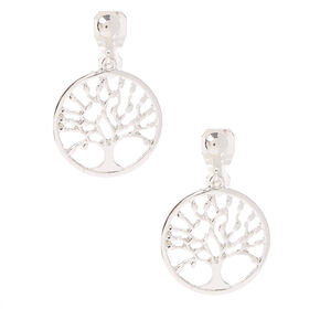 "Silver 1"" Tree of Life Clip On Drop Earrings,"