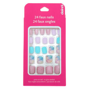 Mixed Marble and Glitter Square Press On Faux Nail Set - 24 Pack,