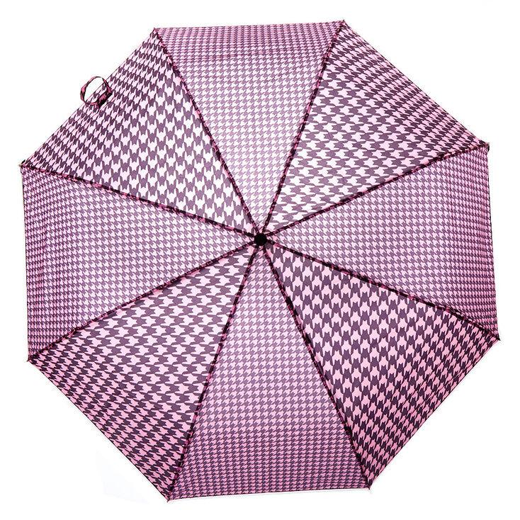 Pink & Black Houndstooth Umbrella,
