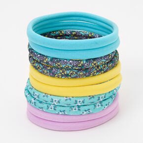 Floral Print & Pastels Rolled Hair Ties - 10 Pack,
