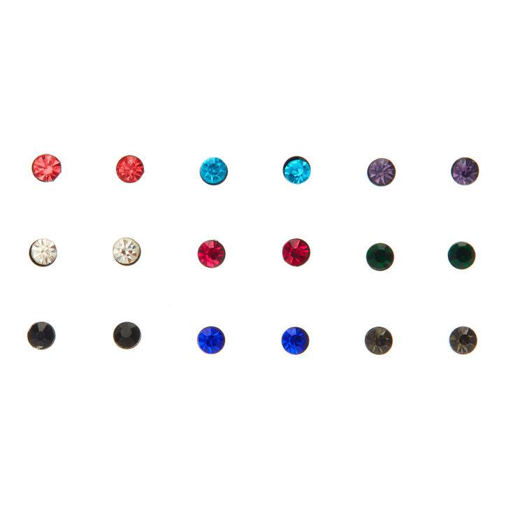 Lot de 9 clous d'oreille avec pierres colorées,