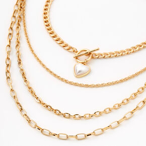 Gold Pearl Heart Multi Strand Choker Necklace,