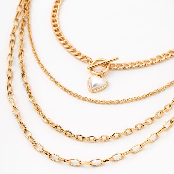 Gold Pearl Heart Multi Strand Choker Necklace,