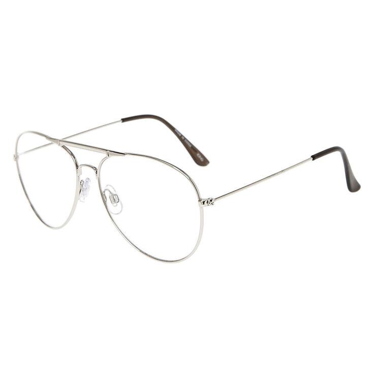 Silver Aviator Clear Lens Frames,