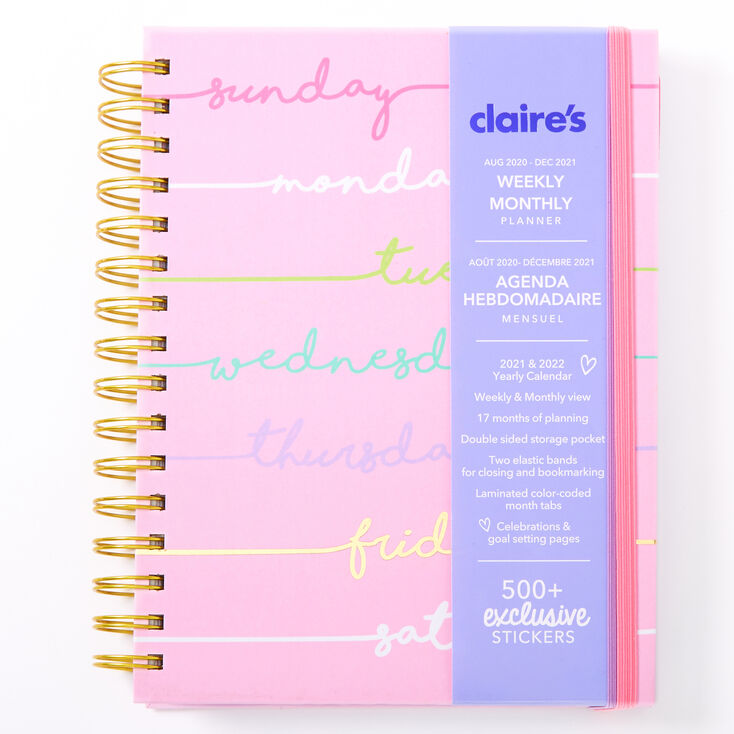 2020/2021 Days Of The Week Daily Planner - Pink,