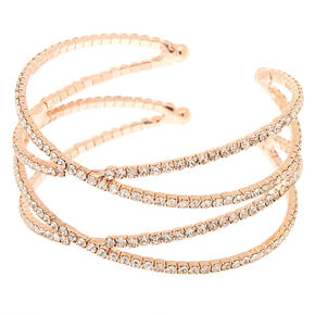 Rose Gold Rhinestone Double Criss Cross Cuff Bracelet,