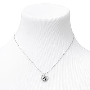Silver Heart Paw Print Pendant Necklace,