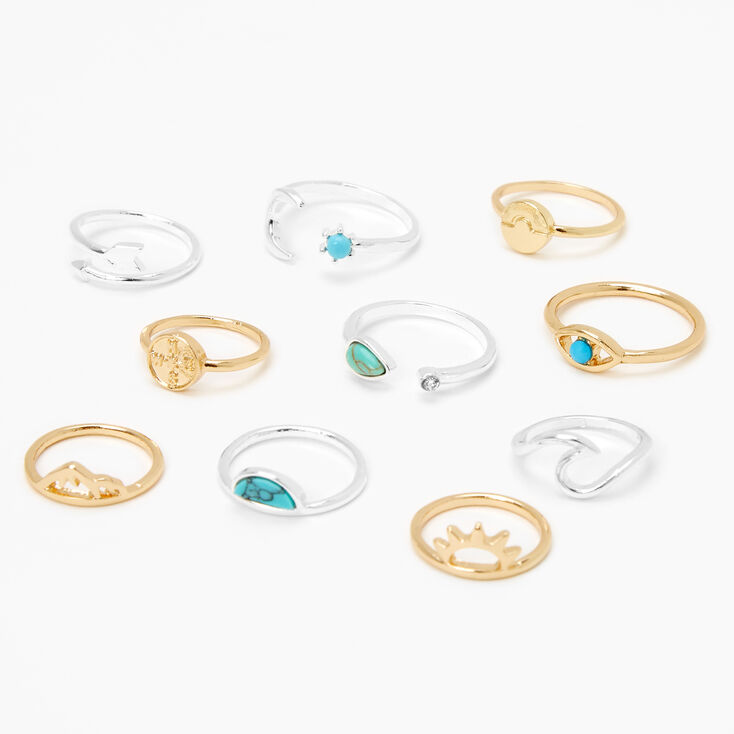 Mixed Metal Marble Stone Rings - Turquoise, 10 Pack,
