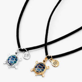 Best Friends Mixed Metal Turtle Mood Pendant Necklaces - 2 Pack,