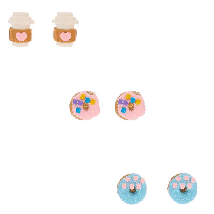 Glitter Café Stud Earrings - 3 Pack,