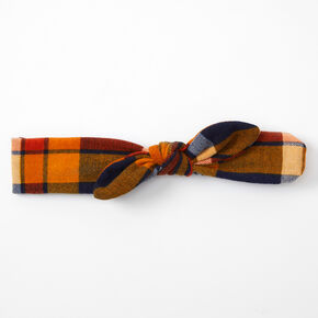 Plaid Knotted Bow Headwrap - Orange,