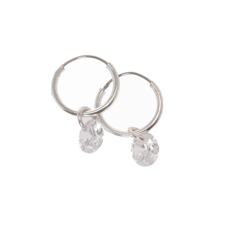 39c504ec0 Silver 10MM Glass Bead Hoop Earrings | Claire's
