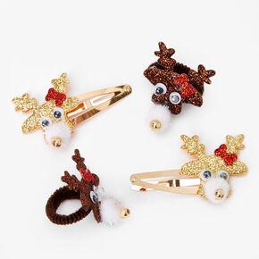 Glittery Reindeer Hair Ties & Snap Clips - 4 Pack,