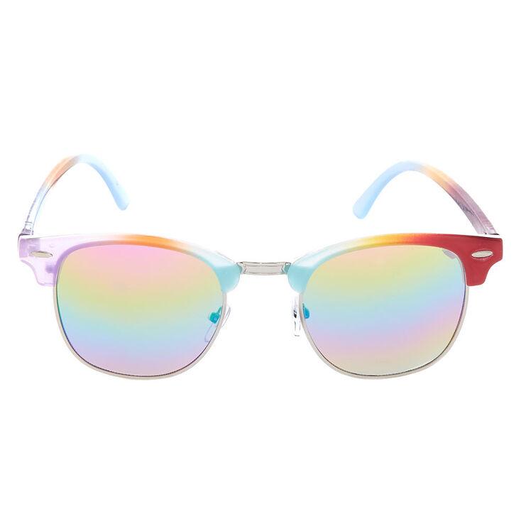 Rainbow Half Frame Retro Sunglasses,