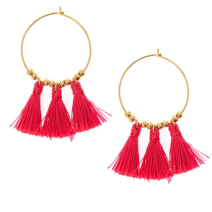 Gold 30MM Tassel Hoop Earrings - Pink,