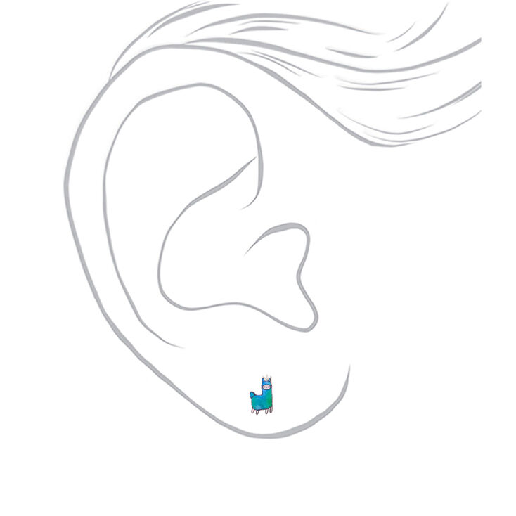 Lala the Llamacorn Stud Earrings - Green,