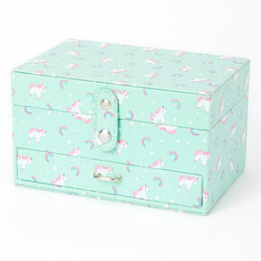 Claire's Club Rainbows & Unicorns Jewellery Box - Mint,