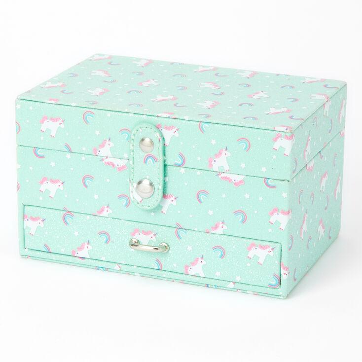 Claire's Club Rainbows & Unicorns Jewelry Box - Mint,