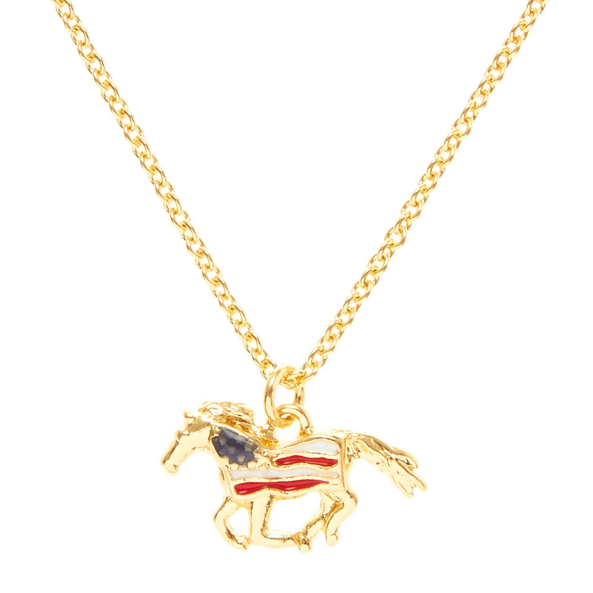 American flag gold horse pendant necklace claires us american flag gold horse pendant necklace mozeypictures Gallery