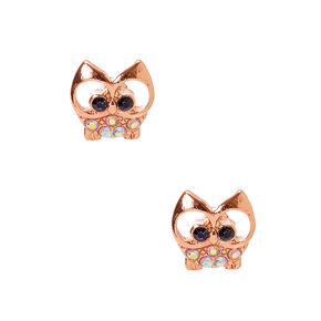 18kt Rose Gold Plated Gizmo Owl Stud Earrings,