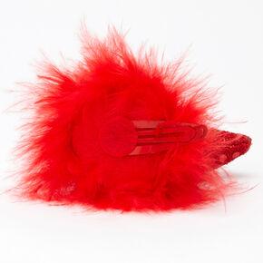 Barrettes clic clac cornes de diable en sequins - Rouge, lot de 2,