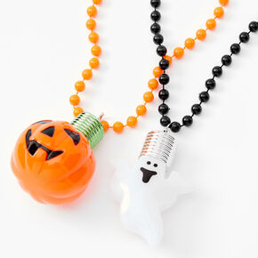Pumpkin Ghost Light Up Long Pendant Necklaces - 2 Pack,