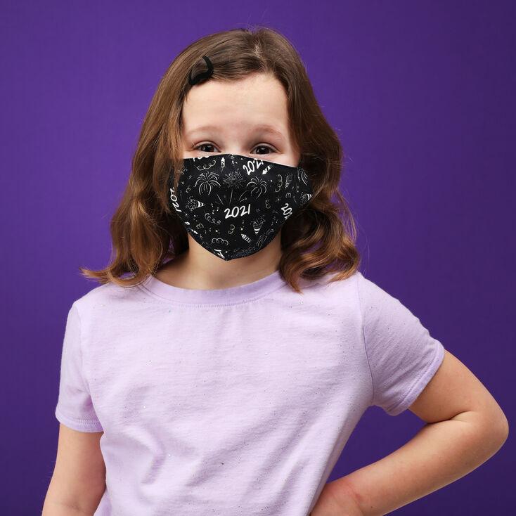 Black 2021 Scatter Print Face Mask - Adult,