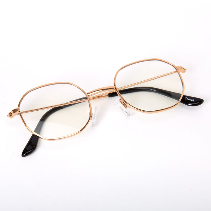 Gold Round Geometric Clear Lens Frames,