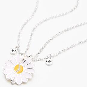 Colliers best friends à pendentif fleur fendue en deux - Lot de 2,