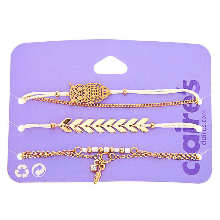 Gold Filigree Owl Bracelets - 5 Pack,