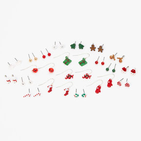 Silver Christmas Spirit Mixed Earrings - 20 Pack,