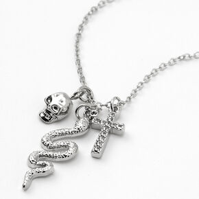 Silver Skull, Snake, & Cross Pendant Necklace,