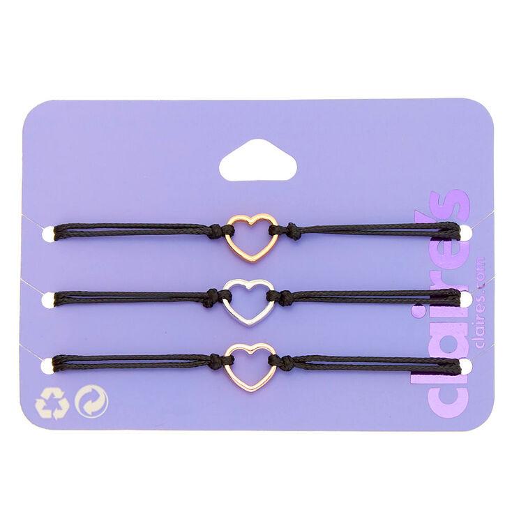 Bracelets réglables cœur en métaux mixtes - Lot de 3,