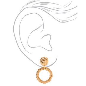 "Gold 2"" Textured Circle Drop Earrings,"