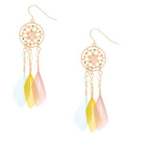 "Gold 2.5"" Unicorn Dreamcatcher Drop Earrings,"